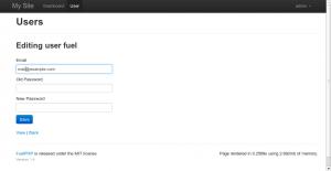 ユーザfuelのメールアドレスを変更